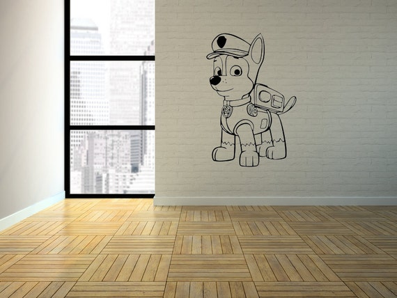 Paw patrol chase wall art vinyl mural perfect for by for Calvin and hobbes bedroom mural
