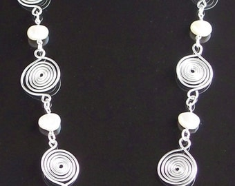Freshwater Pearl and spiral, wire wrapped necklace