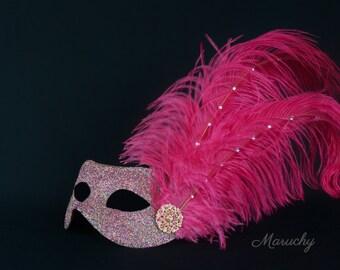 Pink Masquerade Mask, Silver Venetian Mask, Silver Masquerade Mask, Mask with Feathers for Masquerade Ball, Weddings, Prom Mardi Gras