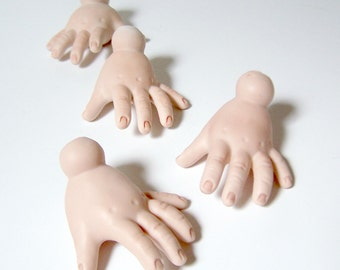 Lot of 13 Modern Replacement Hands for Porcelain Dolls Some pairs Mostly Singles High Quality 1980s Like New Doll Parts Repair Repurpose