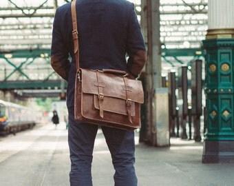 """Men's Messenger Bag, 15"""" Leather Briefcase, Benny Bee, Cosmopolitan Fashion, Handmade Cross-body Bag, Leather Shoulder Bag, Large Satchel"""