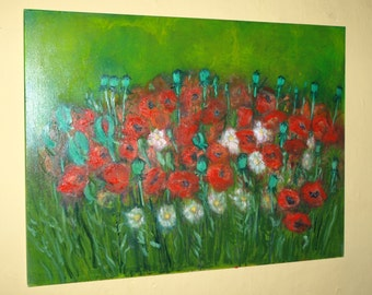 An original oil painting of Poppies