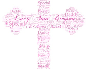 Personalised Christening Word Art - A  Cross Design - Digital File