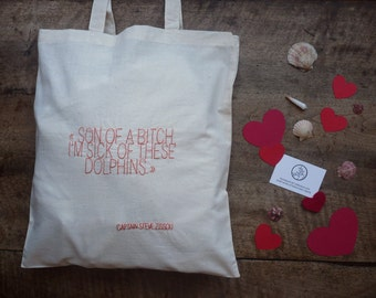 Sweet Words #8 : Captain Steve Zissou, The Life Aquatic - hand-embroidered cotton tote bag - coral