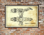 Firefly Serenity Blueprint Art of Firefly Class Technical Drawings Engineering Drawings Patent Blue Print Art Item 099B