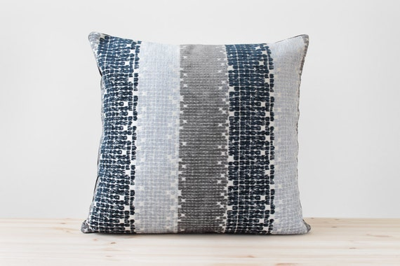 Navy Blue Gray Geometric Pillow Navy and White Stripe Cushion : il570xN804716831thaw from www.etsy.com size 570 x 380 jpeg 45kB