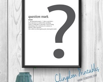 Question Mark, Punctuation, Grammar, Teacher, Classroom, Wall Art, Dorm Art, Instant Download