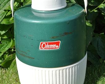 Vintage Coleman Water Jug, Water Cooler, Retro Camping Jug, Picnic jug 2 gallon, Lid and Cup Intact, Green Coleman Jug.