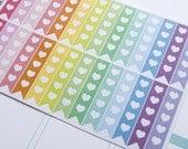 28 flag stickers with heart, horizontal planner stickers, scrapbook reminder checklist, eclp filofax happy planner kikkik plum paper mambi