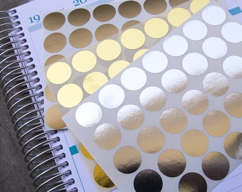 105 metallic circle sticker, silver gold geometric sticker, planner stickers, scrapbook sticker, dot round eclp filofax happy planner kikkik