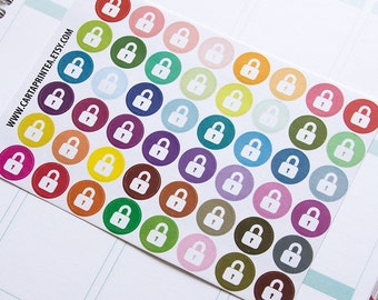 Secret lock sticker, password locket work office sticker, planner sticker, padlock sticker, important code eclp filofax happy planner kikkik