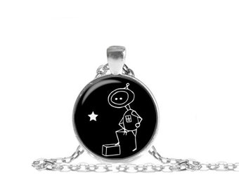Robot Necklace, Box Robot Pendant, Robot with Box Necklace with Chain