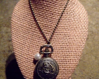 Bronze Tone Small Rose Pocket Watch Necklace