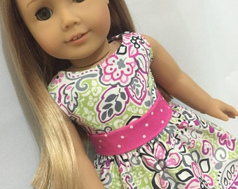 Pink Spring Floral Dress. Fits American Girl doll clothes, 18 inch doll clothes