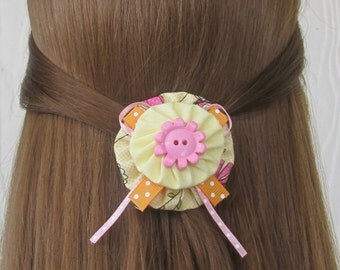 Pink & Yellow Flower Hair Clip, YoYo Hair Clips, Orange Polka Dots, eclectiKIDS