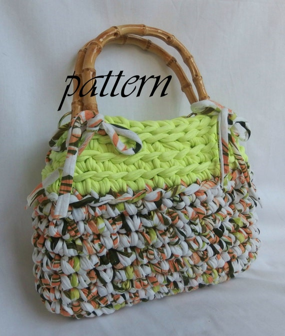 Crochet Patterns For T Shirt Yarn : Crochet pattern t shirt yarn handbag in by ...