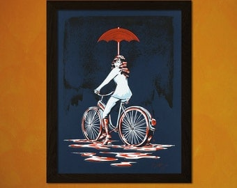 Woman On A Bicycle Art Print- Cycling Poster Bicycle Wall Decor Cycling Prints Bicycle   Reproductiont