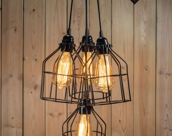 Black Cage Chandelier/pendant light Industrial Aluminium ceiling light, Antique Edison Bulb, Lamp, Rustic Lighting