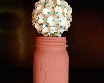 Rustic teal, cream and salmon hydrangea (pomander ball) paper flower bouquet!!!!