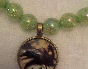 Green Beaded Dragon Pendant Necklace   (#424)