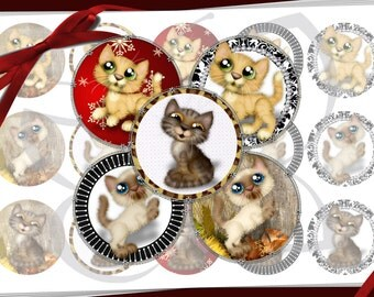 Cute Kitten Bottle Cap Images  1 inch circles - digital collage sheet - bottle cap images, buttons, tags, scrapbooking, cupcake toppers