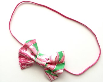 """Lilly Pulitzer """"PINK COLONY"""" Bow or Headband, Lilly Pulitzer Headband, Lilly Pulitzer Bow, Lilly Pulitzer, Pink Colony"""