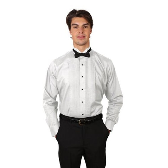 Men White Tuxedo Shirt with Wing Tip Collar
