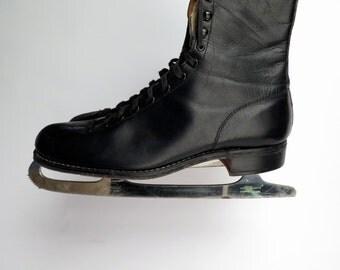 basco skating outfit mens size 10  black ice skates winter recreation winter sports  ice sports skating sheffield steel