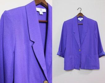 Lightweight 80s Purple Blazer /  Vintage Cotton Blazer