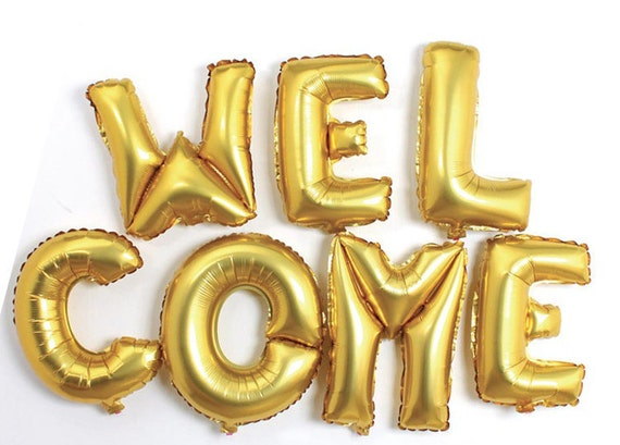 MARRY ME/ WELCOME Gold Mylar Foil Balloons Banner | Proposal, Wedding, Welcome Party, Welcome Home