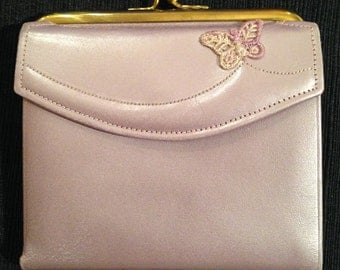 Princess Gardner Leather Lustre Glow Cowhide Vintage Wallet Lavender Butterfly