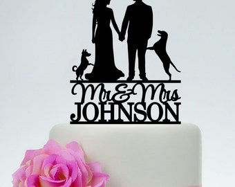 Mr And Mrs Cake Topper With Last Name And Pet,Wedding Cake Topper,Unique Cake Topper,Bride And Groom Topper,Custom Cake Topper C095