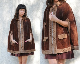 vtg 70s suede poncho / brown & tan two tone cut out