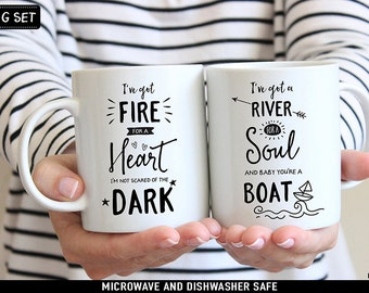 Coffee Mug Drag Me Down 1D Coffee Mug Set - I've Got Fire for a Heart - I've got a River for a Soul and Baby Youre a Boat