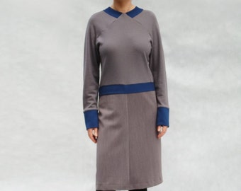 unique dress with raglan sleeves, taupe, blue braids