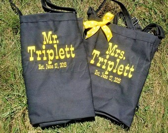 """Two Aprons--Matching set of Couple's Gift Aprons. Many colors + fonts. 24""""L x 28""""W professional 3 pocket full bib. His can be longer!!!"""