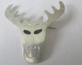 Moose brooch, Silver brooch, vintage brooch, beach brooch, handmade pin, Moose pendant, Silver pendant, Handcrafted pendant, Handcrafted pin