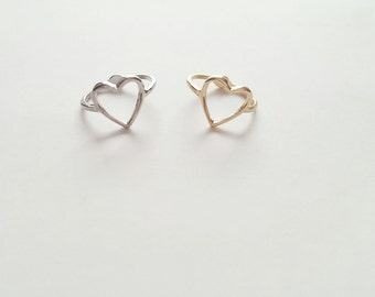 Gold Heart Ring Size 7
