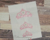 Tiara princess full stitch machine embroidery design file in 9 formats and 3 sizes Instant download