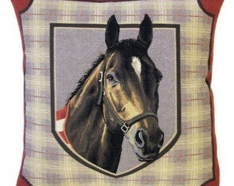Horse Art Pillow Cover - Horse Decor Pillow - Horsehead Throw Pillow - 18x18 Belgian Tapestry Cushion Cover - Horse Gift - PC-5365