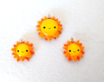 Suns of polymer clay pendants
