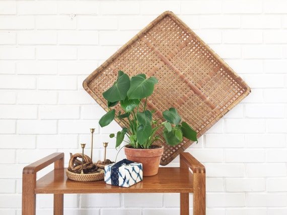 Large rattan wall decor : Vintage extra large wicker tray wall hanging