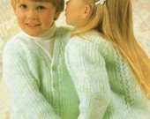 Childrens Knitting Pattern  Fishermans Rib and Lace Panel Cardigan  DK yarn  22 to 26 inches
