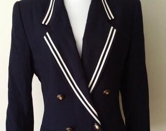 70's blazer, 70's jacket, nautical blazer, navy blue blazer, nautical jacket, size M L