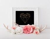 Gold Glitter Herzen Poster, Weinrotes Kindergarten, gold Kinderzimmer Dekor, Diamant-Herz, Valentines druckbare Kunst, Valentinstag-Dekor