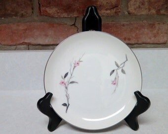 """Cherry Blossom Fine China from Japan,1067  Pink and Grey 6.5"""" Plates, Gold Trim"""