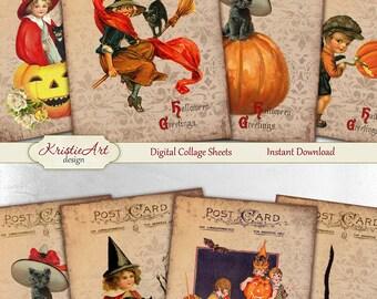 75% OFF SALE Halloween - Digital Collage Sheet Digital Cards C112 Printable Download Image Digital Atc Card ACEO Halloween Cards