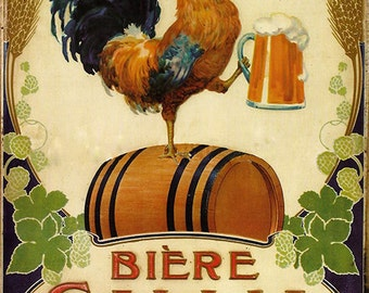 Biere Gallia, Vintage Beer Advertising Reproduction Rolled CANVAS PRINT 24x31 in.