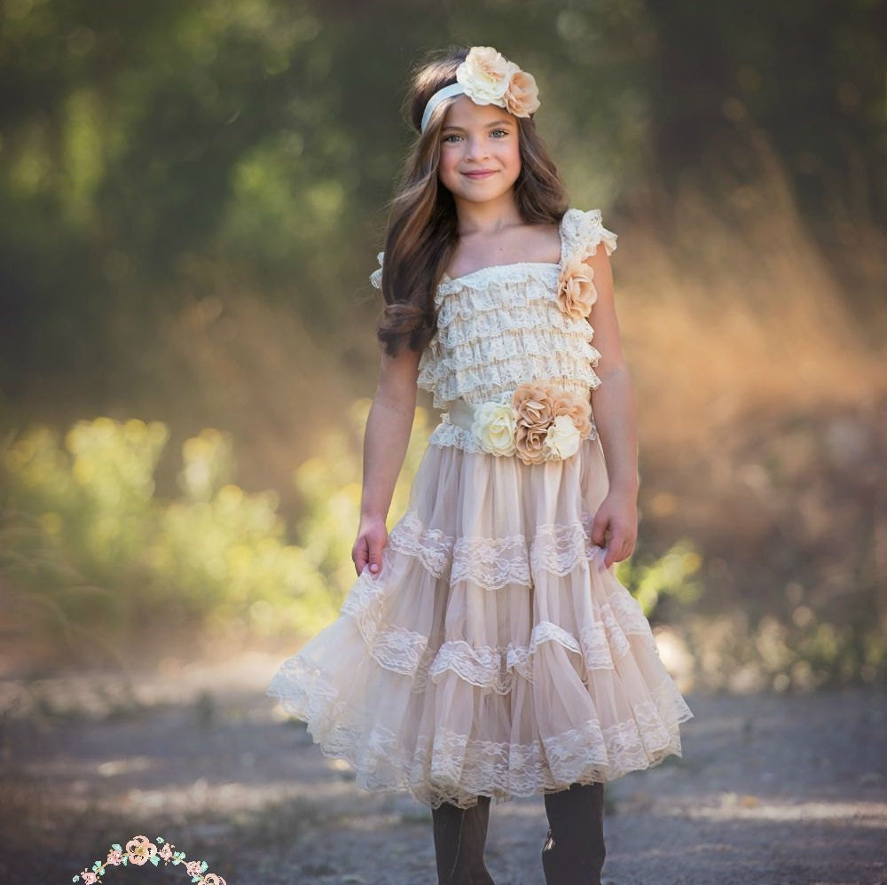 Flower Girl Dress Champagne Lace Flower Girl Dress Rustic