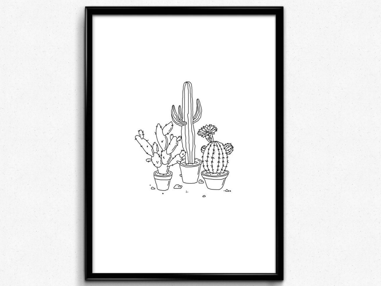 Cactus Print Succulent print Cactus art Monochrome